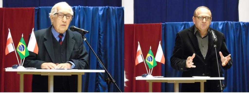 (Cerimônia de abertura no Liceu Rui Barbosa em Varsóvia, no detalhe os Srs. Stanislaw Pawliszwski e Jerzy Mazurek – Fotos: Acervo Sociedade Polono-Brasileira de Varsóvia)