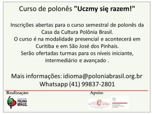 Curso de polones divulgação semestre 2 - 2018