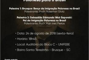 Em Brusque/SC, seminário temático abordará os 150 Anos da Imigração Polonesa no Brasil