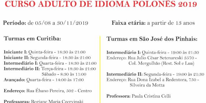 "(Português) SEGUNDO SEMESTRE 2019 DO IDIOMA POLONÊS ""UCZMY SIĘ RAZEM"""