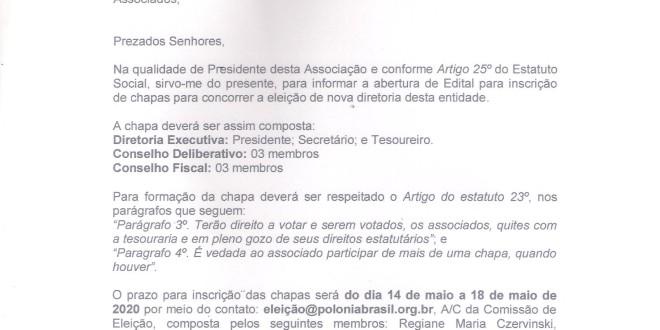 (Português) Edital de Informe para Inscrição de chapas eleição 2020